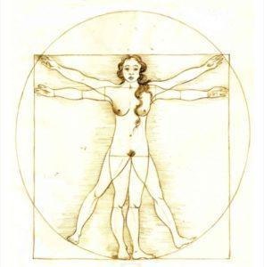 La donna di Vitruvio simbolo della perfezione umana di Paola De Benedetti è l'immagine di copertina de il romanzo Il giusto mondo